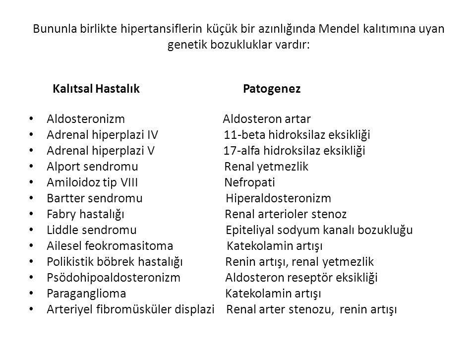 Bununla birlikte hipertansiflerin küçük bir azınlığında Mendel kalıtımına uyan genetik bozukluklar vardır: