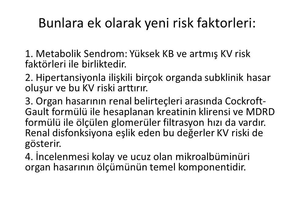 Bunlara ek olarak yeni risk faktorleri: