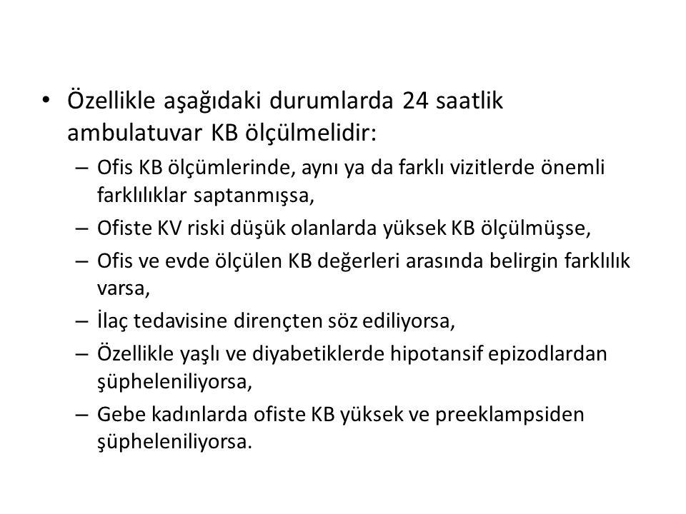 Özellikle aşağıdaki durumlarda 24 saatlik ambulatuvar KB ölçülmelidir: