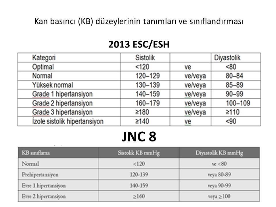 Kan basıncı (KB) düzeylerinin tanımları ve sınıflandırması 2013 ESC/ESH
