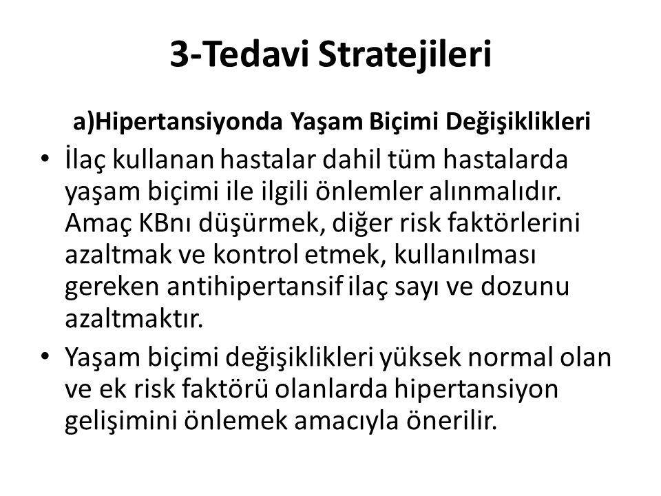 3-Tedavi Stratejileri a)Hipertansiyonda Yaşam Biçimi Değişiklikleri