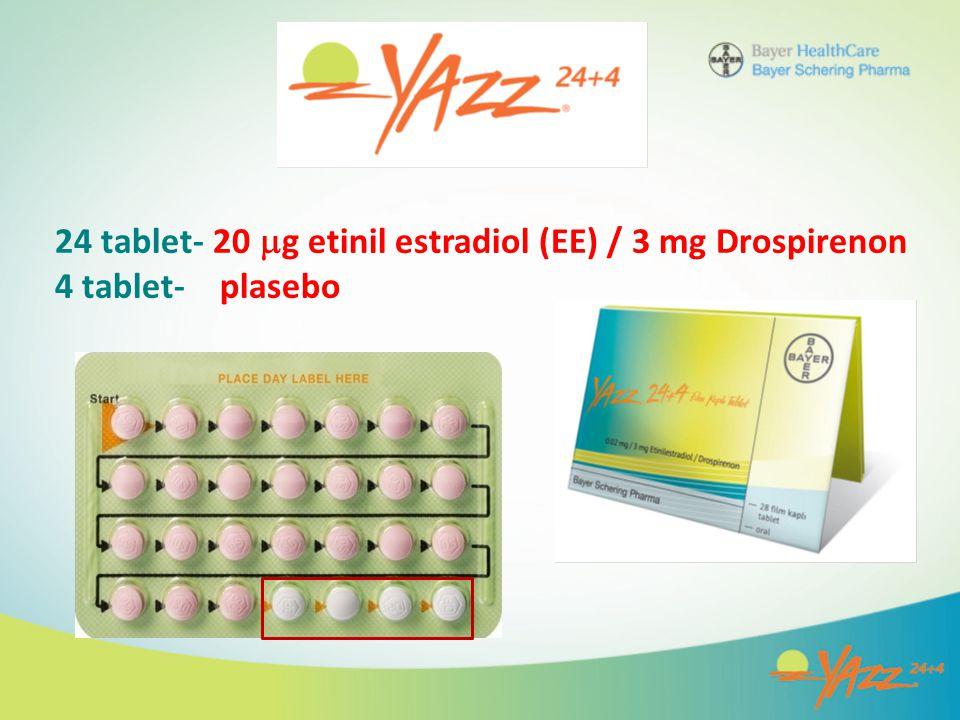 24 tablet- 20 g etinil estradiol (EE) / 3 mg Drospirenon 4 tablet- plasebo