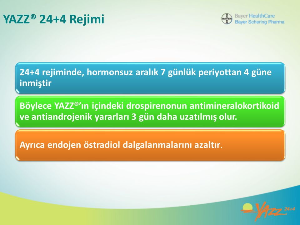 YAZZ® 24+4 Rejimi 24+4 rejiminde, hormonsuz aralık 7 günlük periyottan 4 güne inmiştir.