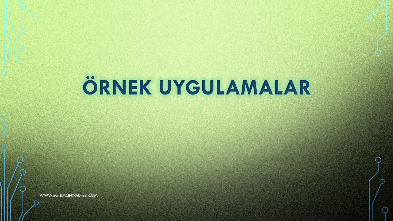 ÖRNEK UYGULAMALAR www.egitimcininadresi.com