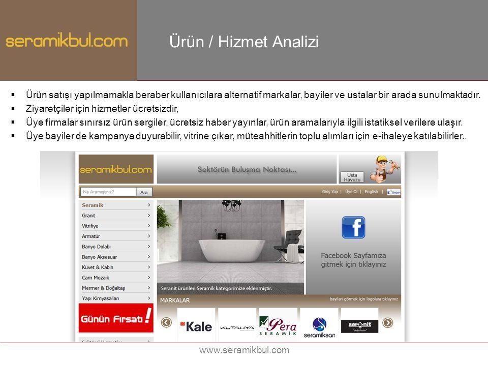 Ürün / Hizmet Analizi Ürün satışı yapılmamakla beraber kullanıcılara alternatif markalar, bayiler ve ustalar bir arada sunulmaktadır.
