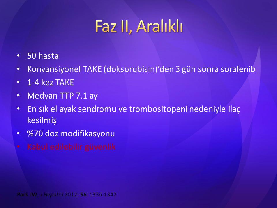 Faz II, Aralıklı 50 hasta. Konvansiyonel TAKE (doksorubisin)'den 3 gün sonra sorafenib. 1-4 kez TAKE.