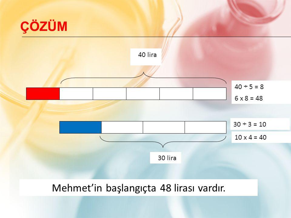 Mehmet'in başlangıçta 48 lirası vardır.