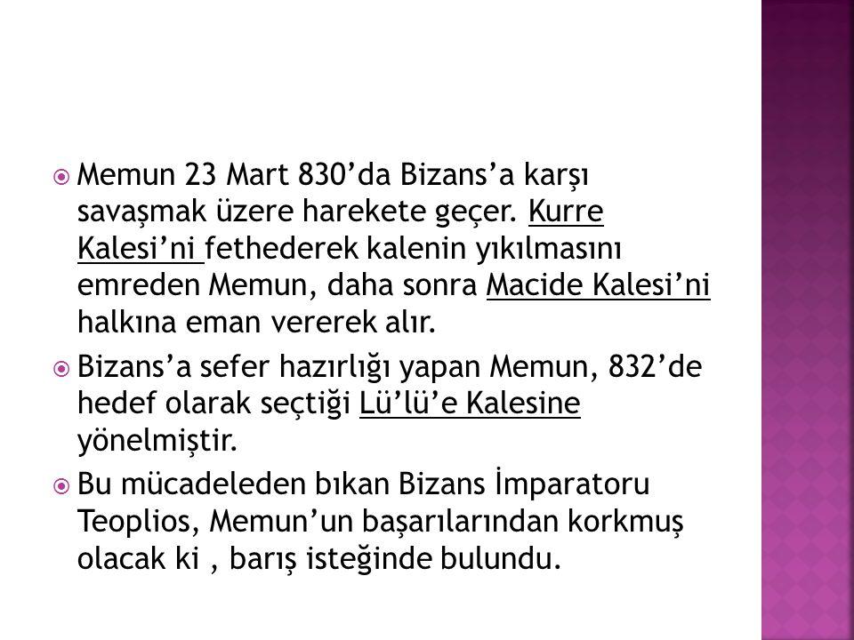 Memun 23 Mart 830'da Bizans'a karşı savaşmak üzere harekete geçer