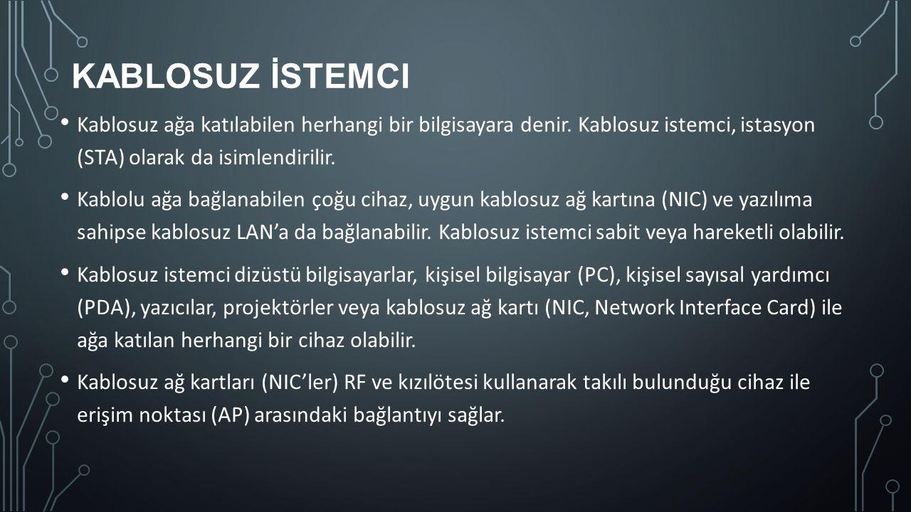 Kablosuz İstemci Kablosuz ağa katılabilen herhangi bir bilgisayara denir. Kablosuz istemci, istasyon (STA) olarak da isimlendirilir.