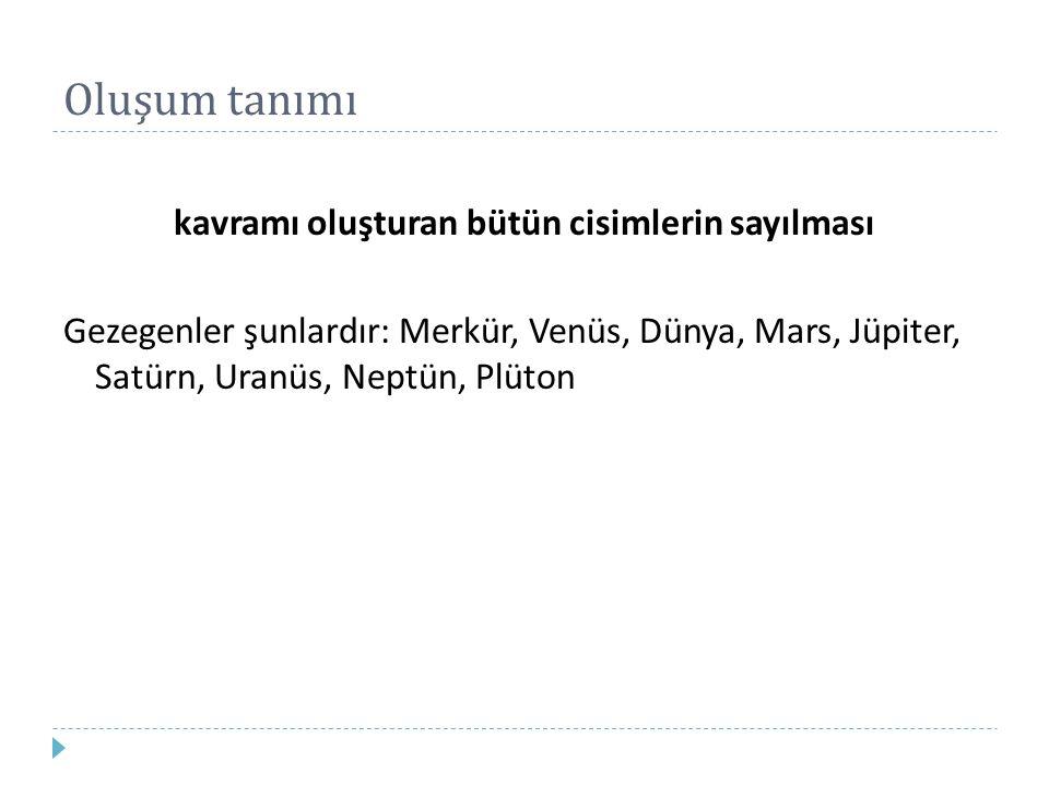 Oluşum tanımı kavramı oluşturan bütün cisimlerin sayılması Gezegenler şunlardır: Merkür, Venüs, Dünya, Mars, Jüpiter, Satürn, Uranüs, Neptün, Plüton