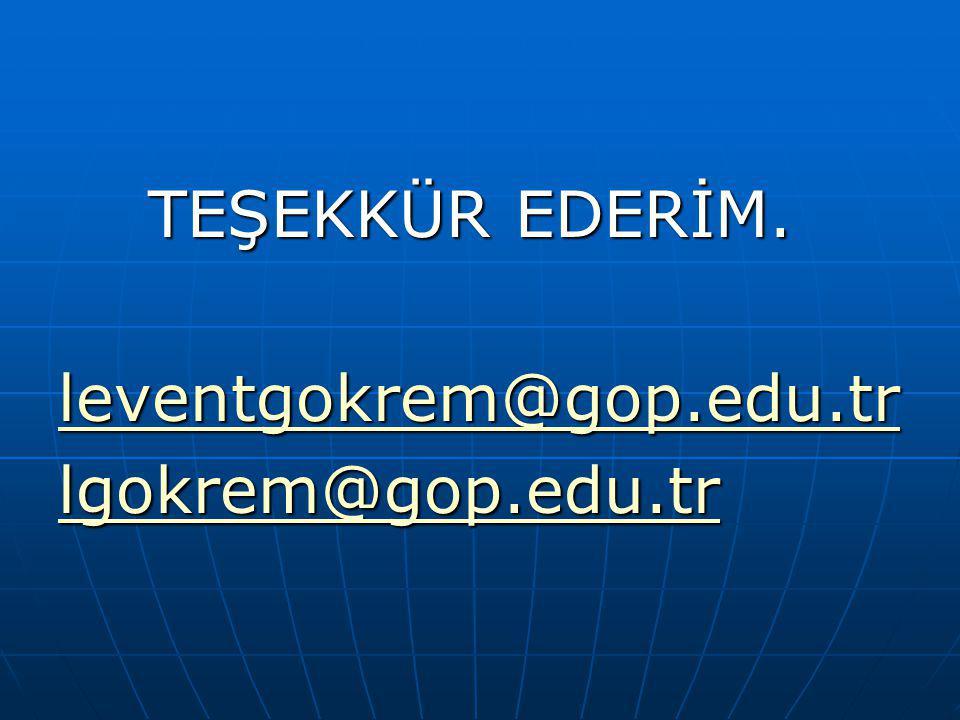 TEŞEKKÜR EDERİM. leventgokrem@gop.edu.tr lgokrem@gop.edu.tr