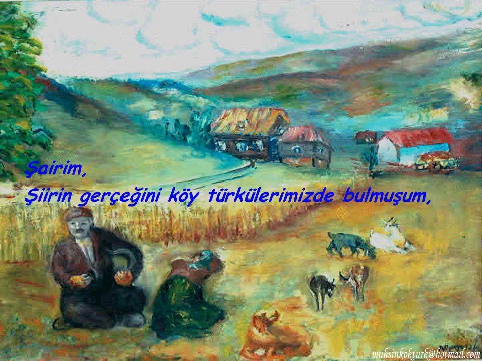 Şiirin gerçeğini köy türkülerimizde bulmuşum,