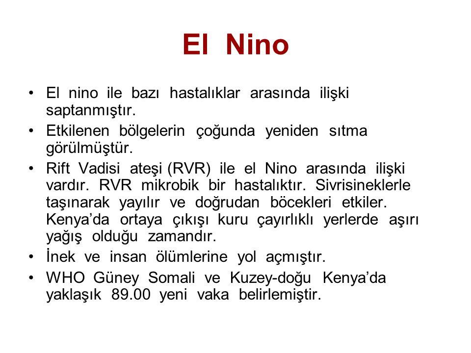 El Nino El nino ile bazı hastalıklar arasında ilişki saptanmıştır.