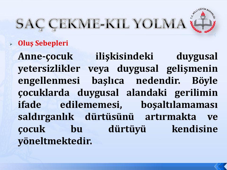 SAÇ ÇEKME-KIL YOLMA Oluş Sebepleri.