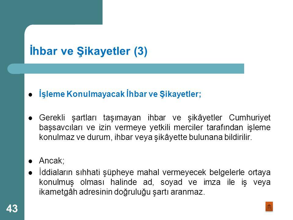 İhbar ve Şikayetler (3) İşleme Konulmayacak İhbar ve Şikayetler;