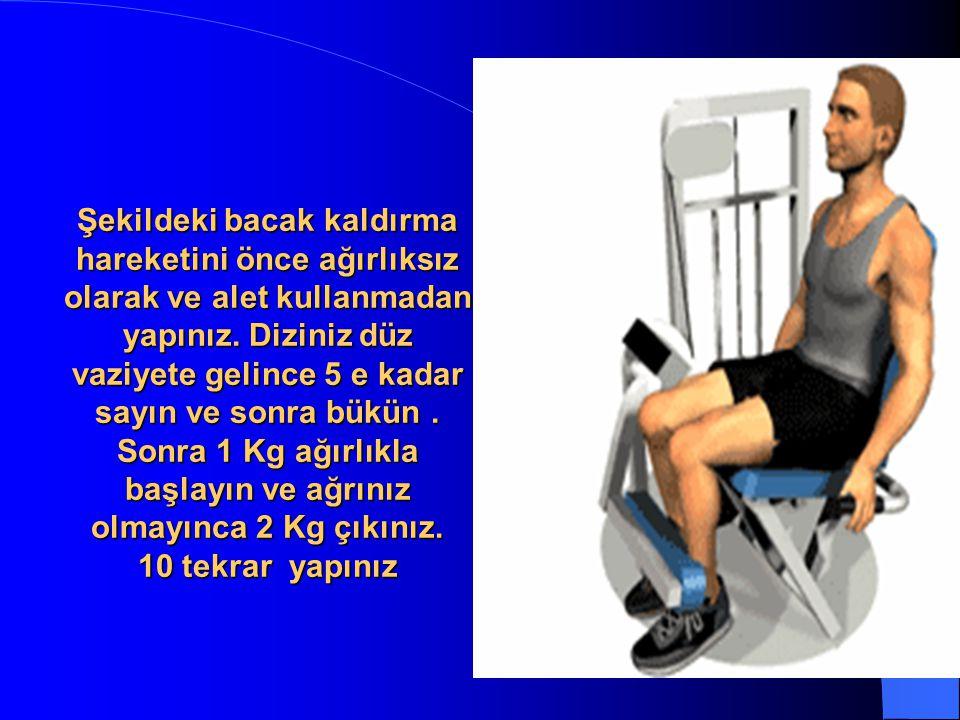 Şekildeki bacak kaldırma hareketini önce ağırlıksız olarak ve alet kullanmadan yapınız.