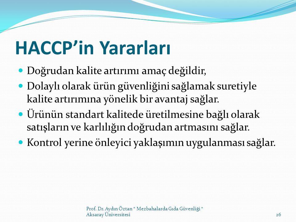 HACCP'in Yararları Doğrudan kalite artırımı amaç değildir,