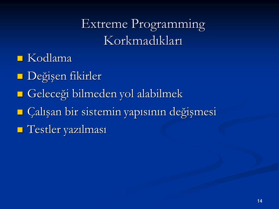 Extreme Programming Korkmadıkları