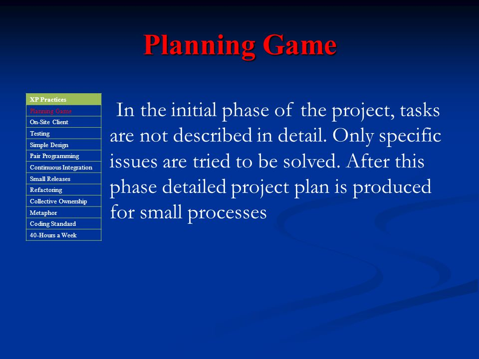 Planning Game XP Practices. Planning Game. On-Site Client. Testing. Simple Design. Pair Programming.