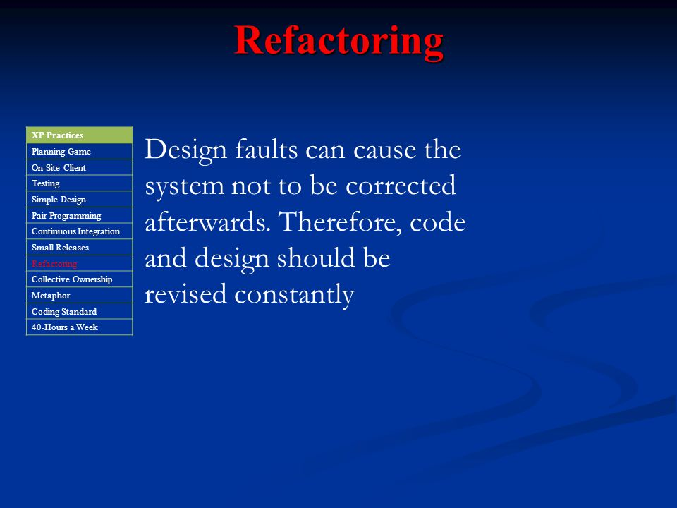 Refactoring XP Practices. Planning Game. On-Site Client. Testing. Simple Design. Pair Programming.