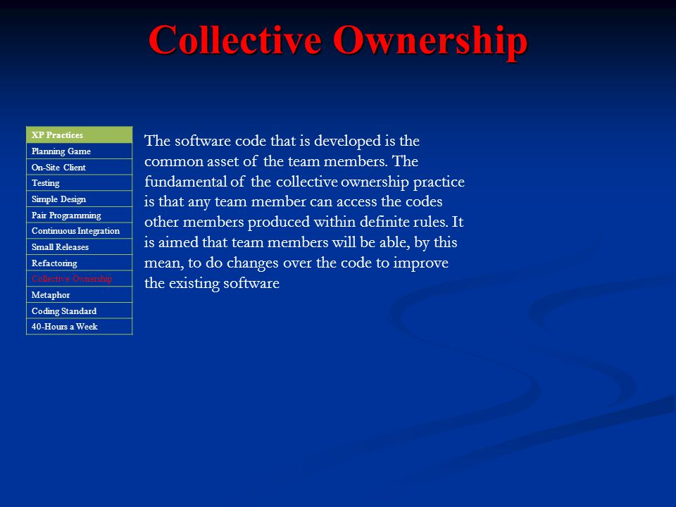 Collective Ownership XP Practices. Planning Game. On-Site Client. Testing. Simple Design. Pair Programming.