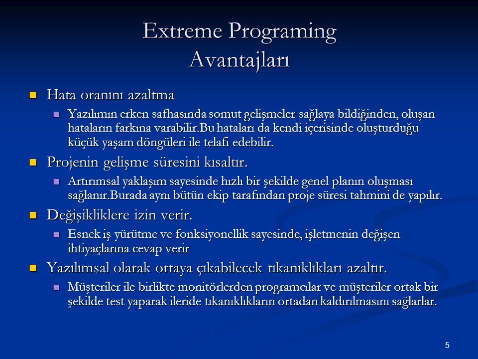 Extreme Programing Avantajları