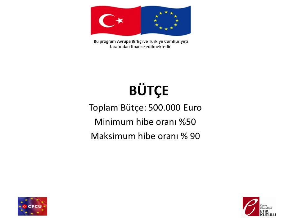 BÜTÇE Toplam Bütçe: 500.000 Euro Minimum hibe oranı %50