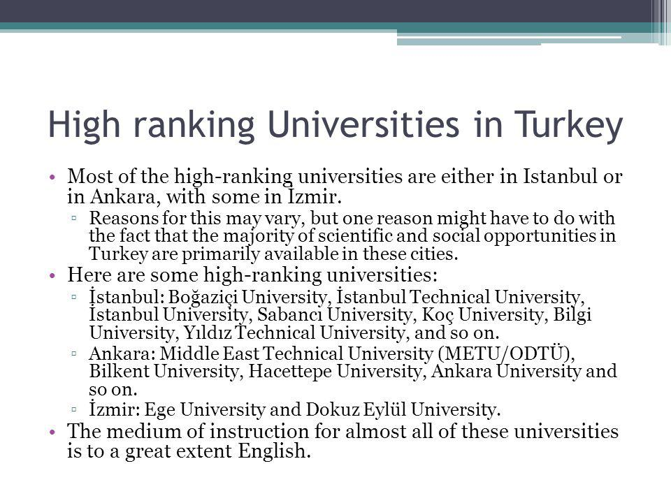 High ranking Universities in Turkey