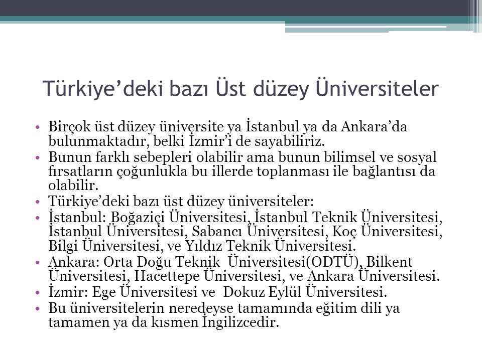 Türkiye'deki bazı Üst düzey Üniversiteler