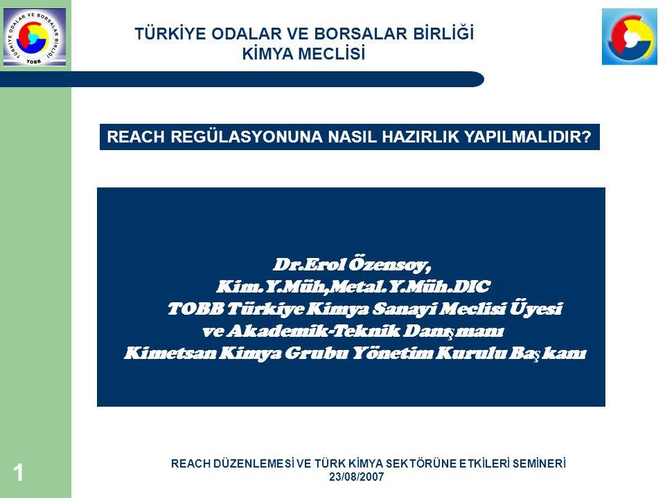 TOBB Türkiye Kimya Sanayi Meclisi Üyesi ve Akademik-Teknik Danışmanı