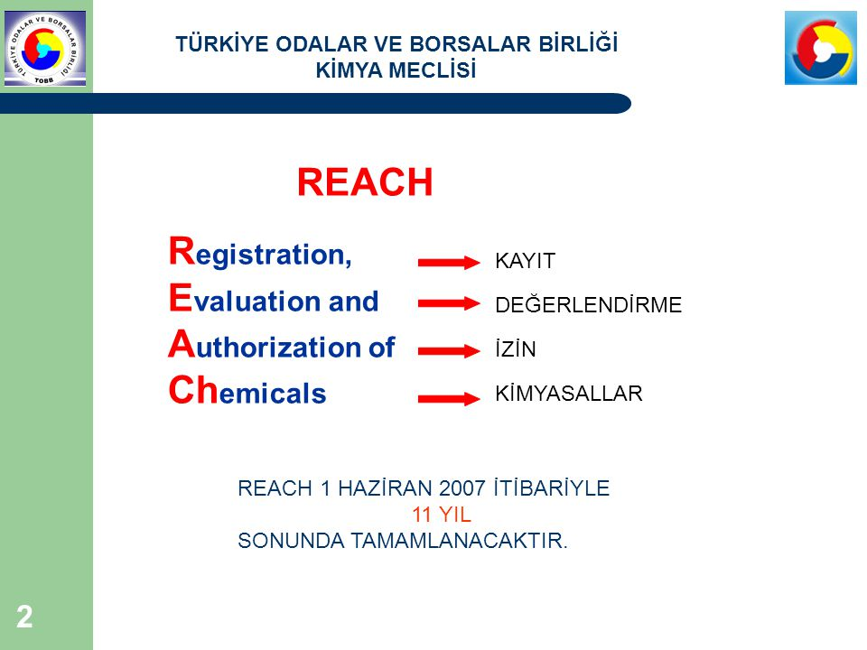 REACH Registration, Evaluation and Authorization of Chemicals KAYIT