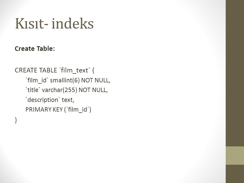 Kısıt- indeks Create Table: CREATE TABLE `film_text` ( )