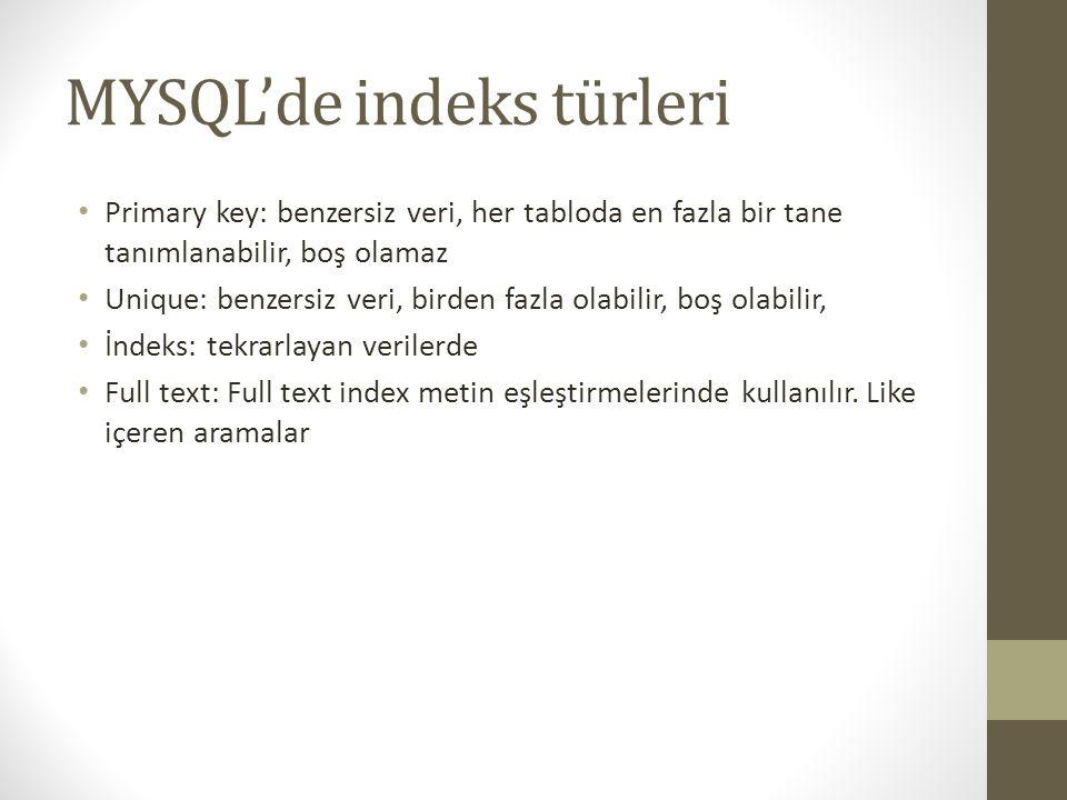 MYSQL'de indeks türleri