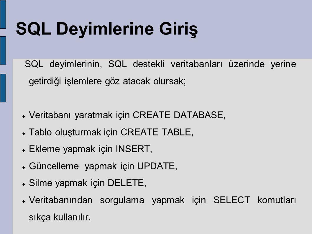 SQL Deyimlerine Giriş SQL deyimlerinin, SQL destekli veritabanları üzerinde yerine getirdiği işlemlere göz atacak olursak;