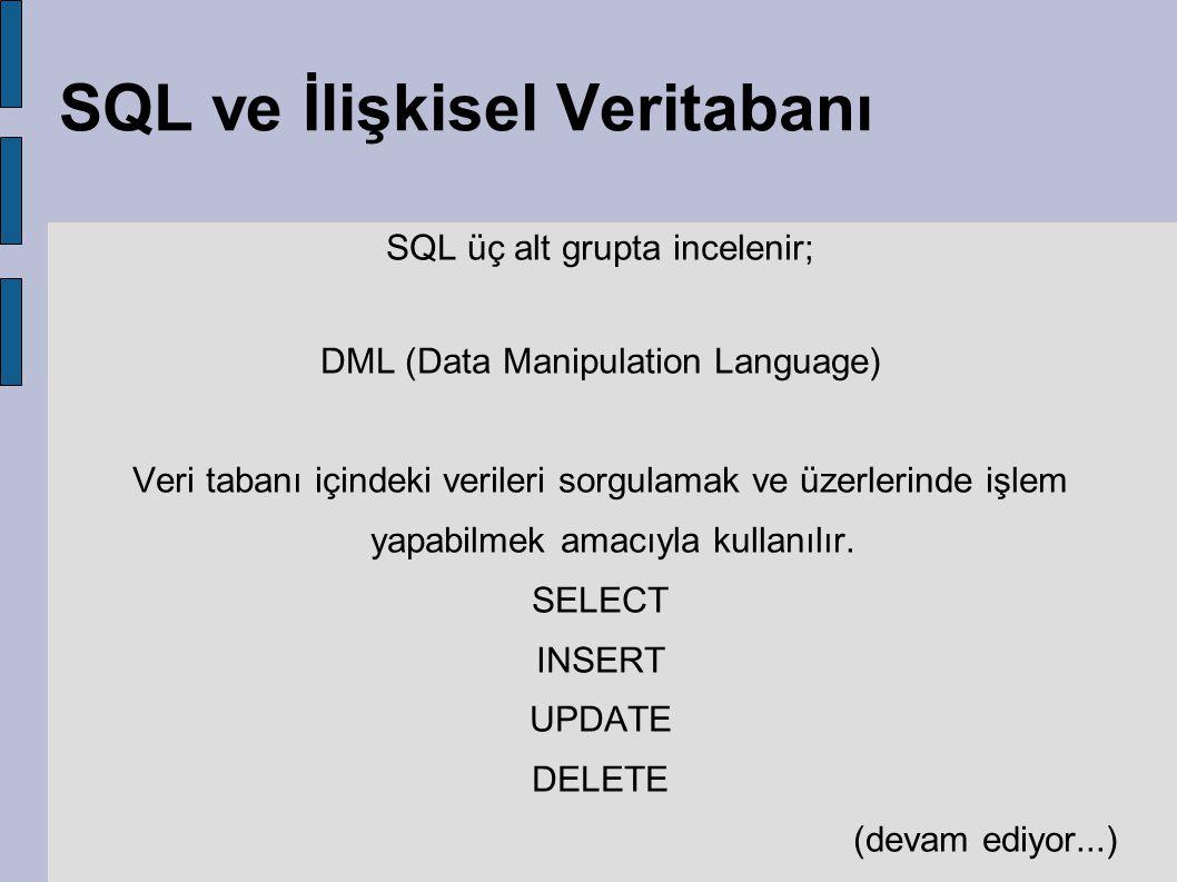 SQL ve İlişkisel Veritabanı