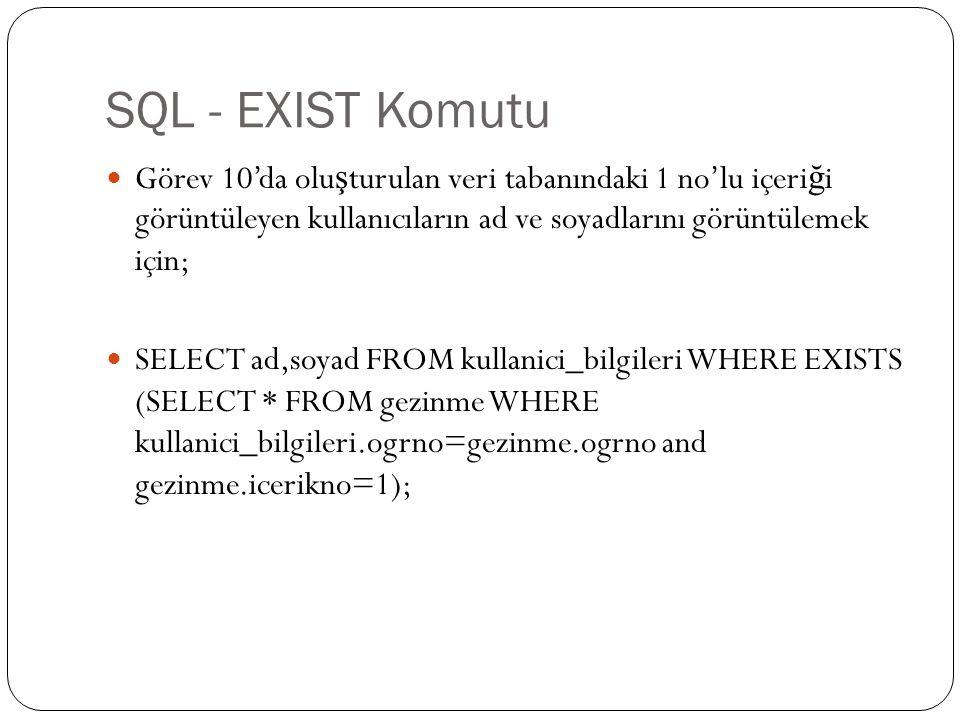 SQL - EXIST Komutu Görev 10'da oluşturulan veri tabanındaki 1 no'lu içeriği görüntüleyen kullanıcıların ad ve soyadlarını görüntülemek için;