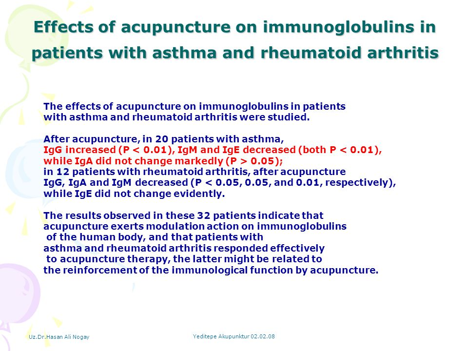 Effects of acupuncture on immunoglobulins in patients with asthma and rheumatoid arthritis