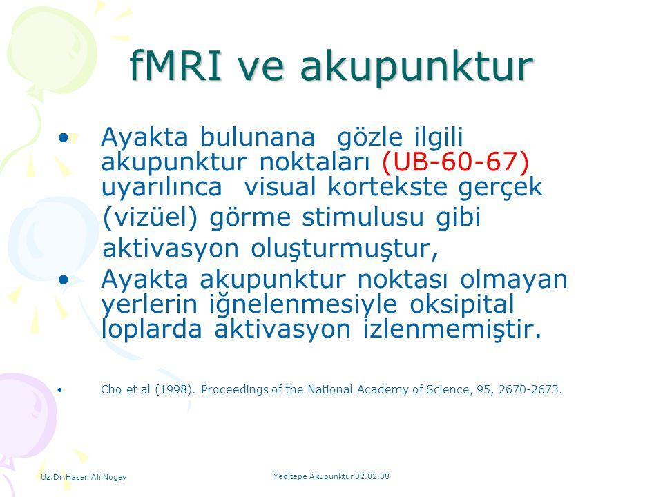 fMRI ve akupunktur Ayakta bulunana gözle ilgili akupunktur noktaları (UB-60-67) uyarılınca visual kortekste gerçek.