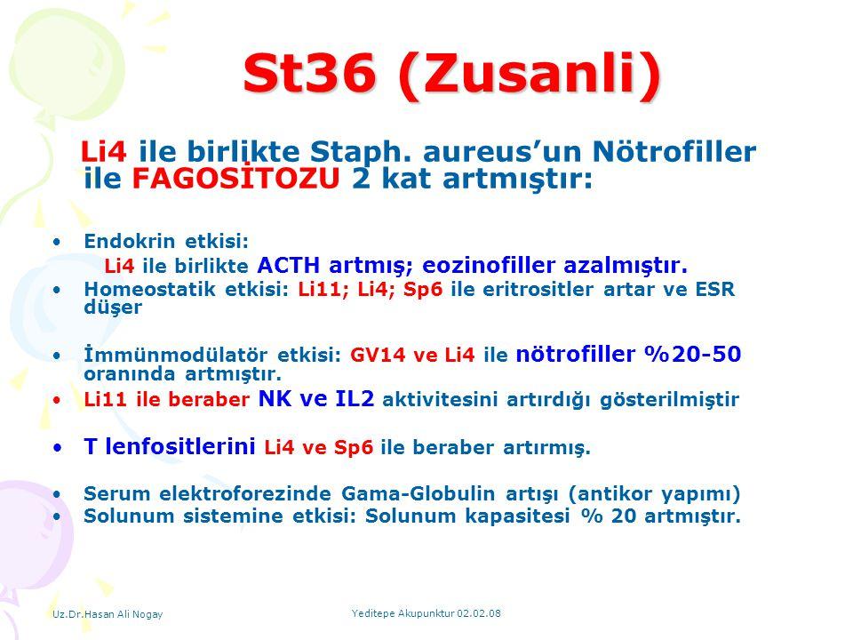 St36 (Zusanli) T lenfositlerini Li4 ve Sp6 ile beraber artırmış.