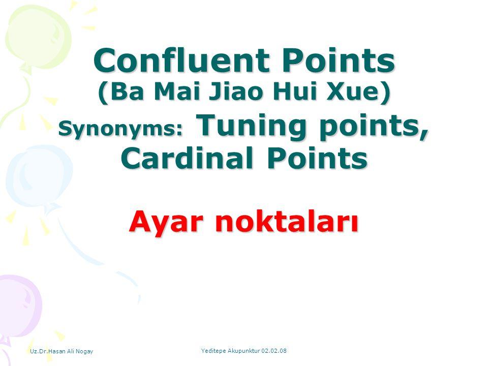 Confluent Points (Ba Mai Jiao Hui Xue) Synonyms: Tuning points, Cardinal Points Ayar noktaları