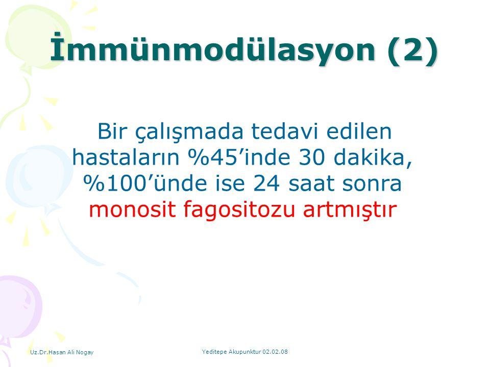 İmmünmodülasyon (2) Bir çalışmada tedavi edilen hastaların %45'inde 30 dakika, %100'ünde ise 24 saat sonra monosit fagositozu artmıştır.