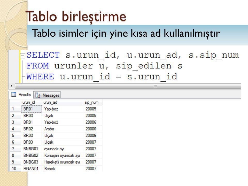 Tablo birleştirme Tablo isimler için yine kısa ad kullanılmıştır