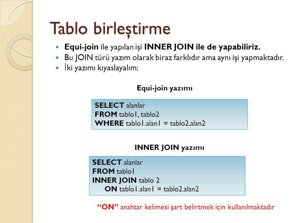 Tablo birleştirme Equi-join ile yapılan işi INNER JOIN ile de yapabiliriz. Bu JOIN türü yazım olarak biraz farklıdır ama aynı işi yapmaktadır.