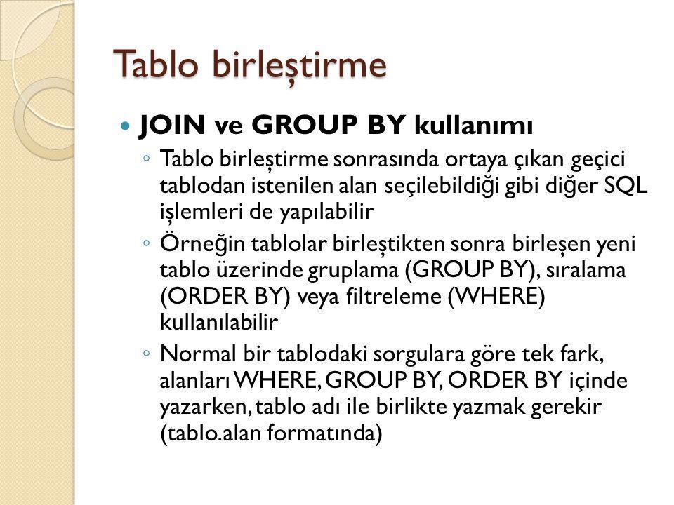 Tablo birleştirme JOIN ve GROUP BY kullanımı