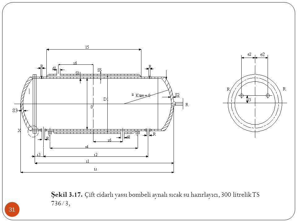 Şekil 3.17. Çift cidarlı yassı bombeli aynalı sıcak su hazırlayıcı, 300 litrelik TS 736/3,