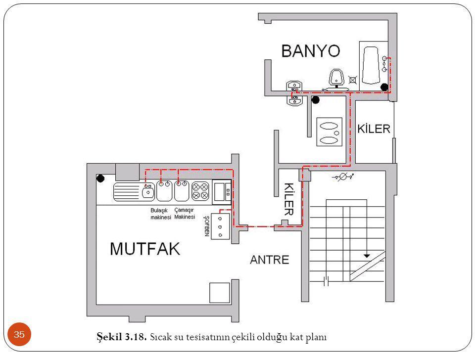 Şekil 3.18. Sıcak su tesisatının çekili olduğu kat planı