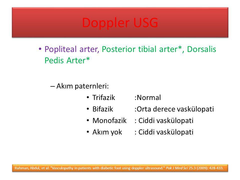 Doppler USG Popliteal arter, Posterior tibial arter*, Dorsalis Pedis Arter* Akım paternleri: Trifazik :Normal.