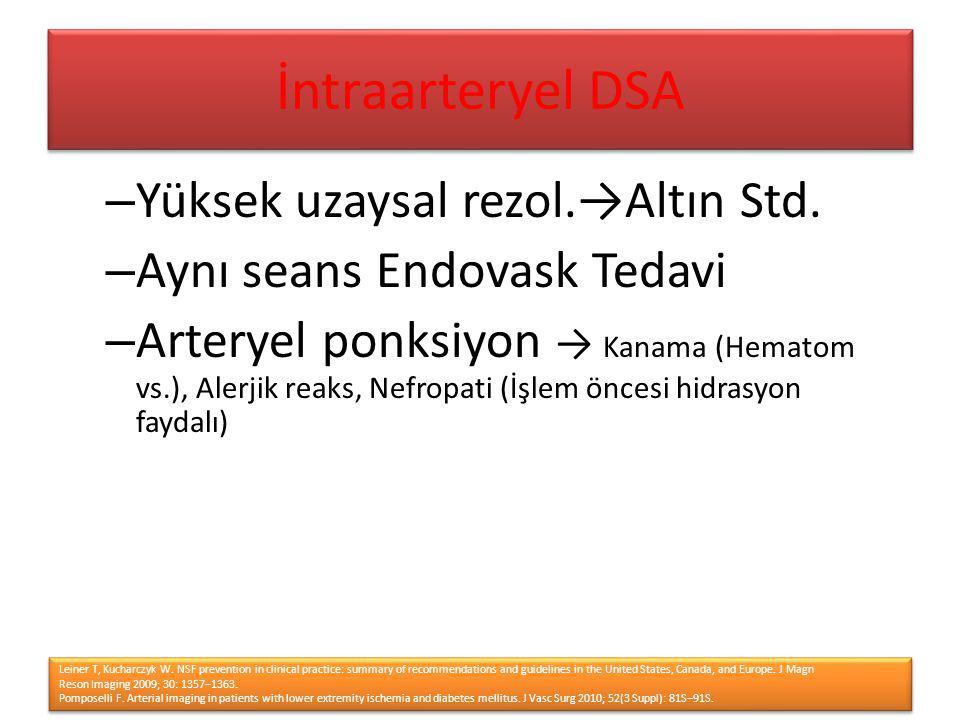 İntraarteryel DSA Yüksek uzaysal rezol.→Altın Std.