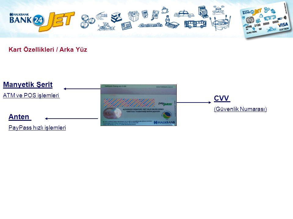 Manyetik Şerit CVV Anten Kart Özellikleri / Arka Yüz