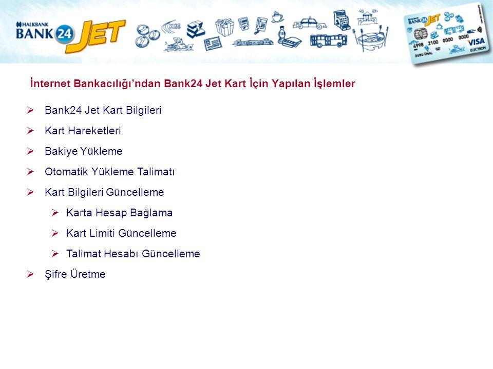 İnternet Bankacılığı'ndan Bank24 Jet Kart İçin Yapılan İşlemler